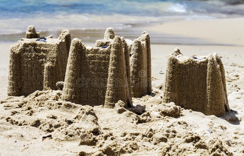 Sandcastles on the beach,vacation concept, toned royalty free stock photos