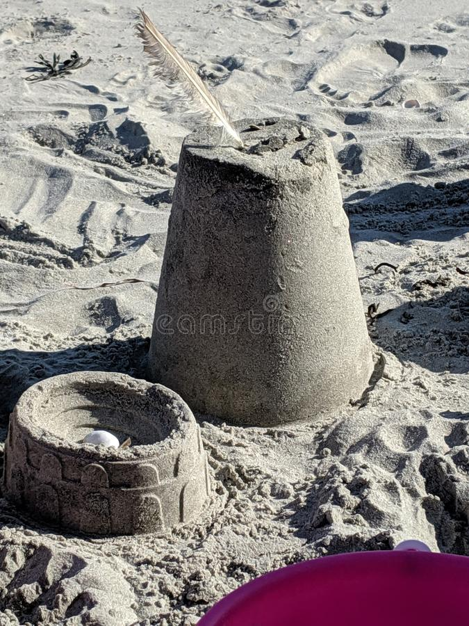 Sandcastles in the sand royalty free stock photo
