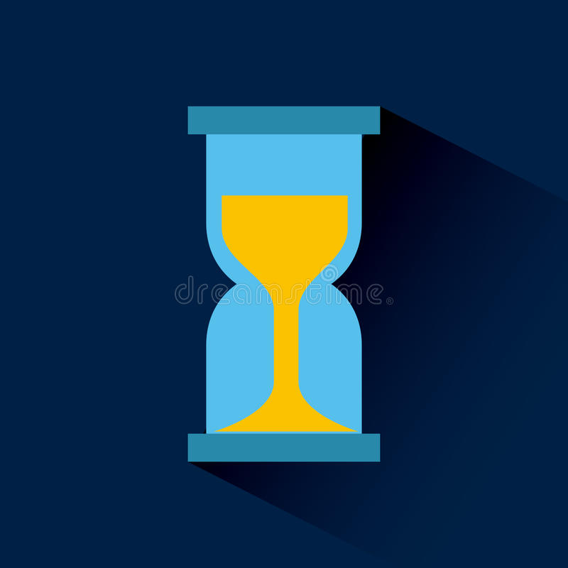 Sandclock time device. Sandclock icon over blue background. colorful design. illustration vector illustration