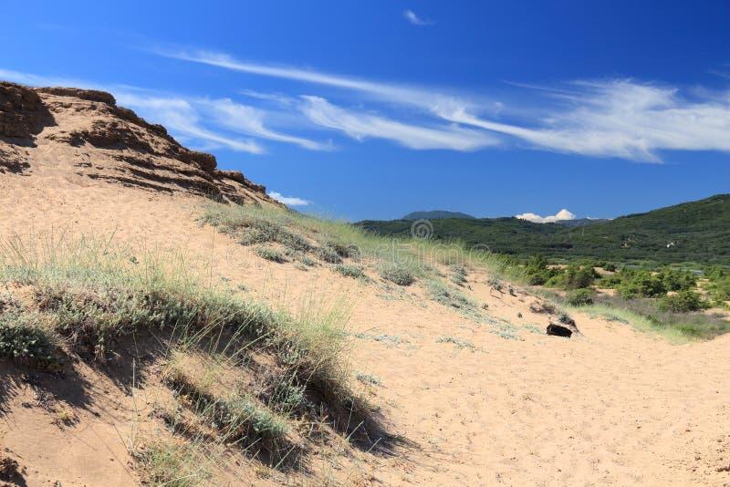 Sanddünen in Korfu lizenzfreies stockfoto