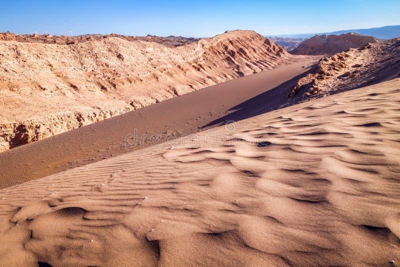 Sanddünen in Valle-De-La Luna, San Pedro de Atacama, Chile stockfoto