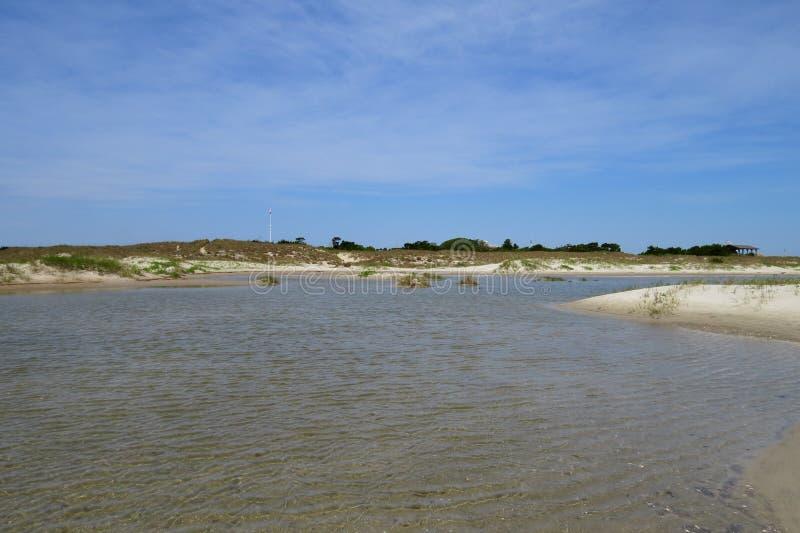 Sanddyn och tidvattenpöl på fortet Macon royaltyfria bilder