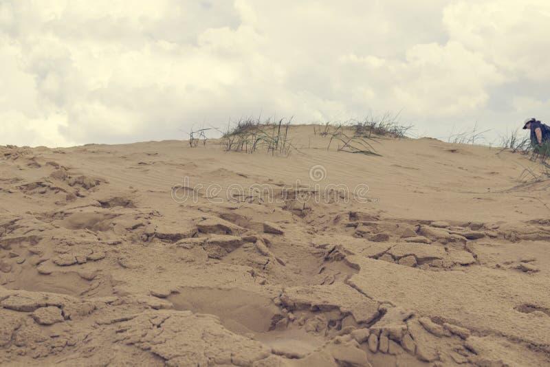 Sanddyn, torrt gräs, vita moln på den blåa himlen på horisonten, i avståndet en flicka går i sanden royaltyfri foto