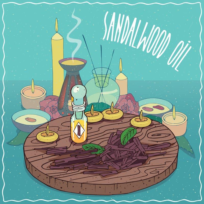 Sandelhoutolie voor aromatherapy wordt gebruikt die vector illustratie