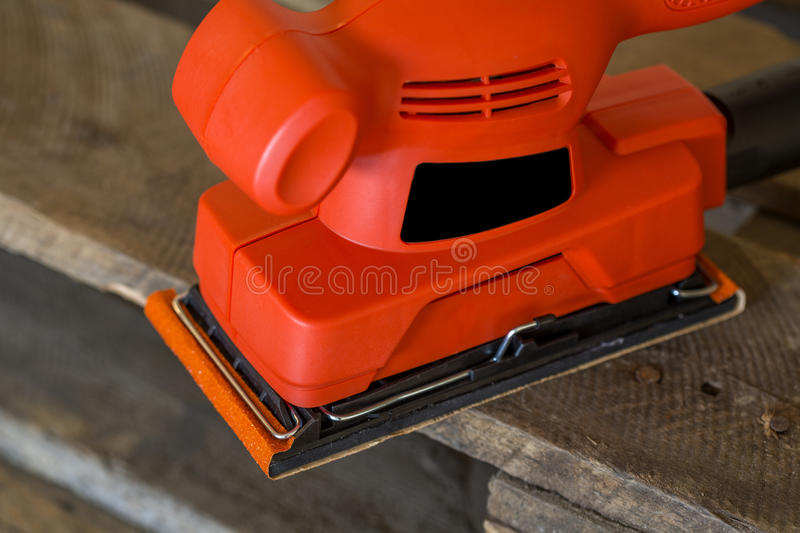 Sander. Close view at the sander tool stock image