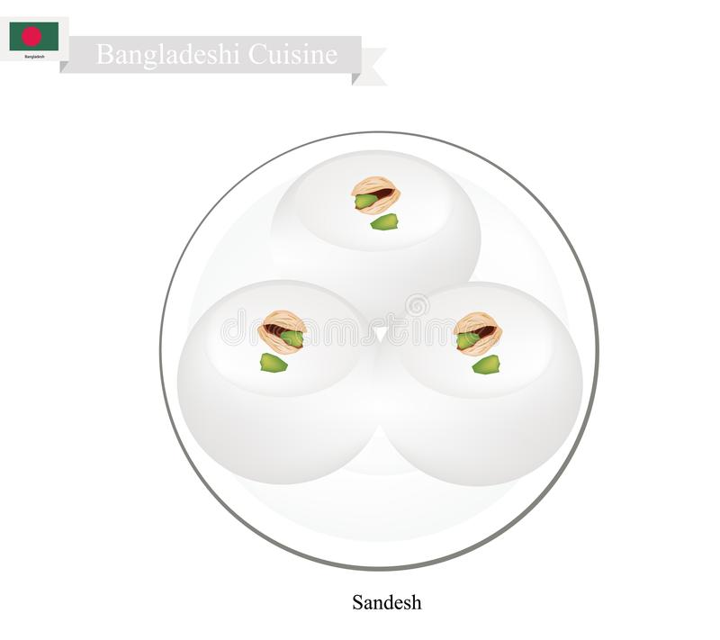 Sandesh or Bangladeshi Dessert Created with Milk and Sugar. Bangladeshi Cuisine, Sandesh or Traditional Dessert Made of Cottage Cheese and Sugar Topping with royalty free illustration
