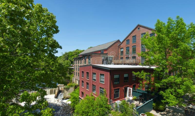 Sanford Mill, Medway, Massachusetts, USA. Sandford Mill on Charles River in Medway historic town center in summer, Medway, Boston Metro West area, Massachusetts stock image