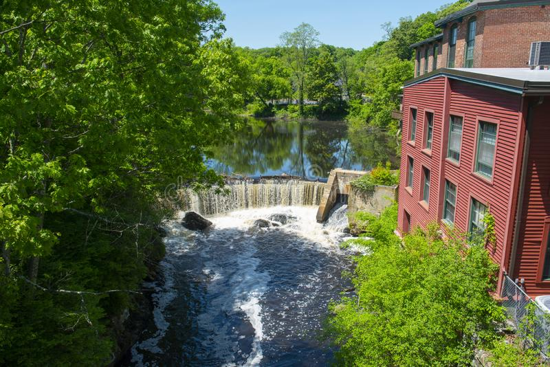 Sanford Mill, Medway, Massachusetts, USA. Sandford Mill on Charles River in Medway historic town center in summer, Medway, Boston Metro West area, Massachusetts stock photo