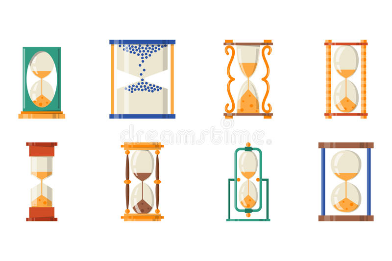 Sandglass象时间平的设计历史其次老对象和沙子时钟滴漏定时器小时分钟观看读秒 向量例证