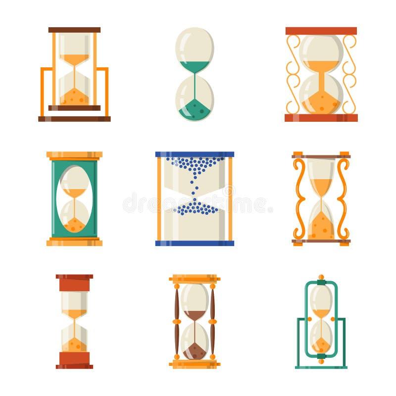 Sandglass象时间平的设计历史其次老对象和沙子时钟滴漏定时器小时分钟观看读秒 皇族释放例证