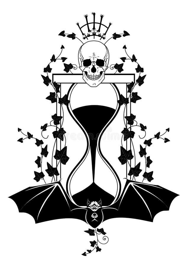 Sandglass, bluszcz i czaszka, royalty ilustracja