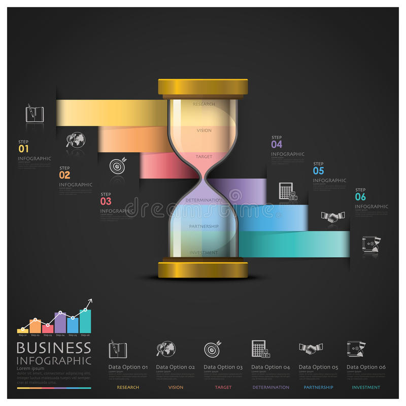 Sandglass-Geld und Finanzgeschäfts-Treppenhaus-Schritt Infographi vektor abbildung