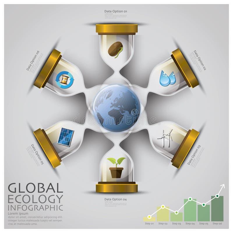 Sandglass global ekologi och miljö Infographic vektor illustrationer