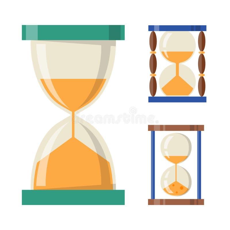 Sandglass ikony czasu projekta historii płaski po drugie stary przedmiot i piaska hourglass zegaru godziny zegarowa minuta ogląda ilustracji