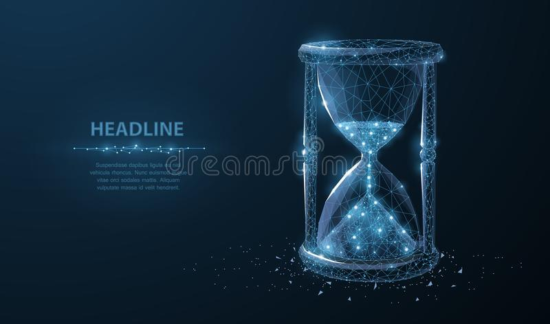 Sandglass. Low poly wireframe sandglass looks like constellation on dark blue background with dots and stars. vector illustration