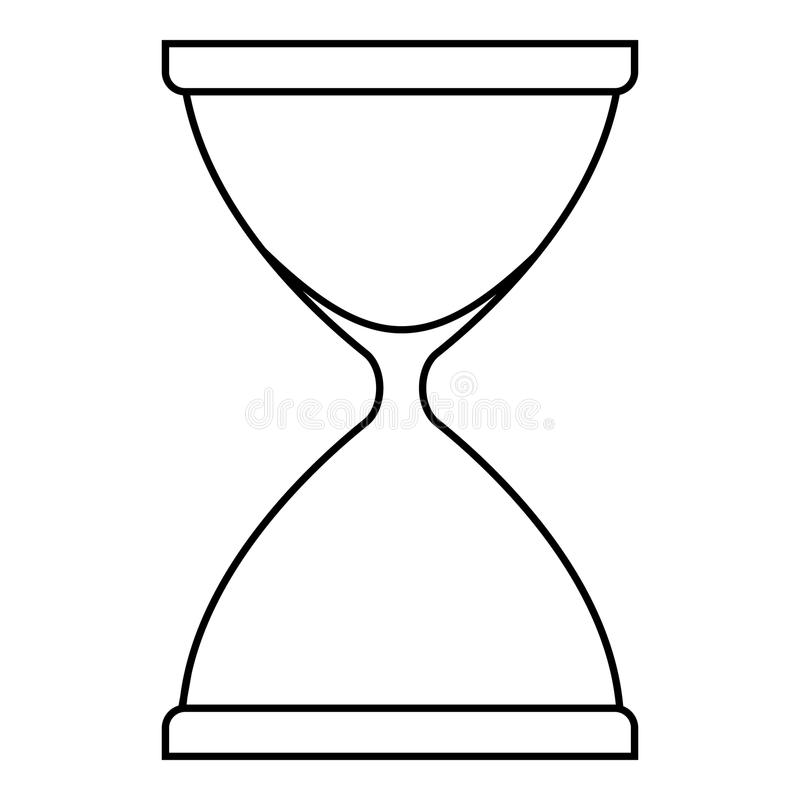 Sandglass symbol, översiktsstil royaltyfri illustrationer