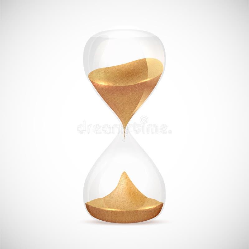Sandglass transparents brillants sur le fond gris illustration libre de droits