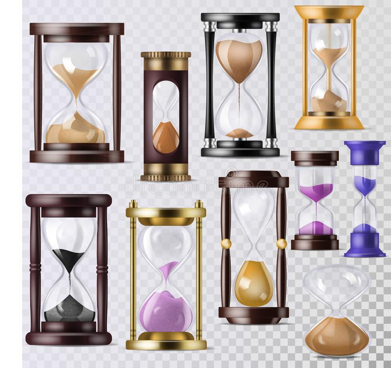 Sandglass vector glass clock with flowing sand and hourglass clocked in time illustration clocking alarm timer to stock illustration