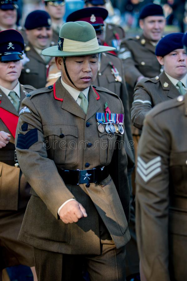 Sandhurst Remembrance 2018. Sandhurst, United Kingdom, 11th November 2018:- British Soldiers from the Gurkhas march to Sandhurst War Memorial on the 100th royalty free stock images