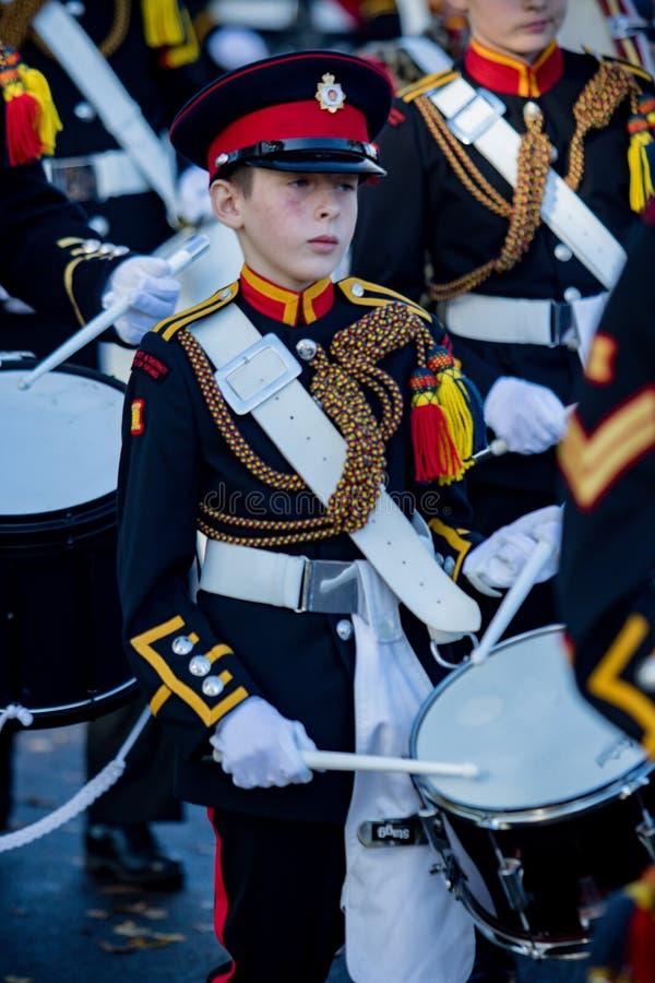 Sandhurst Remembrance 2018. Sandhurst, United Kingdom, 11th November 2018:- Cadets from Sandhurst Corps of Drums march to Sandhurst War Memorial on the 100th stock image