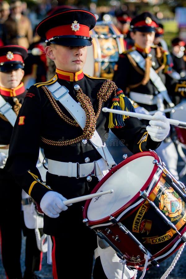 Sandhurst Remembrance 2018. Sandhurst, United Kingdom, 11th November 2018:- Cadets from Sandhurst Corps of Drums march to Sandhurst War Memorial on the 100th stock photos
