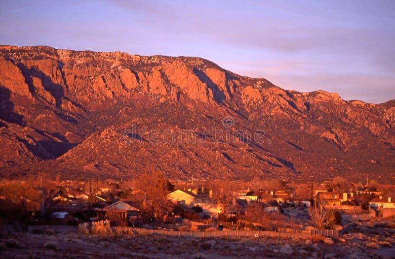 Sandia Peak at Sunset stock photo