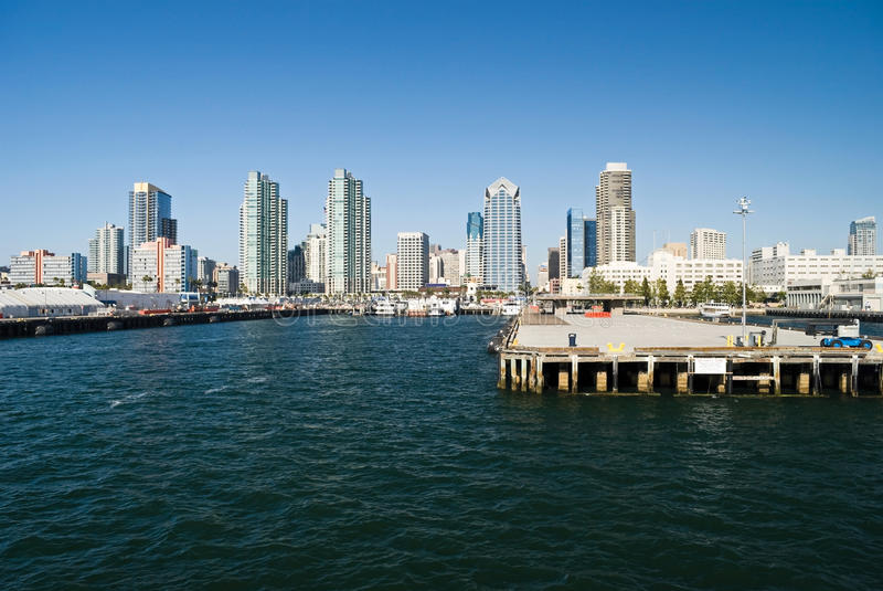 SanDiego Pier and Skyline royalty free stock photography