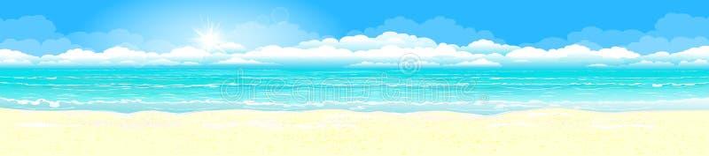Sandig kust av det azura havet stock illustrationer
