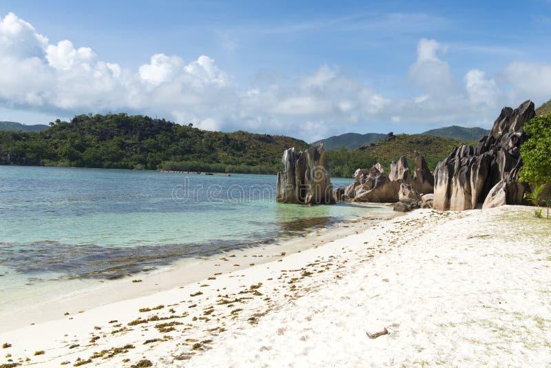 Sandig strand för vit i Seychellerna arkivbilder