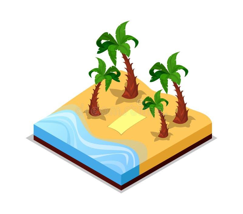 Sandig strand med den isometriska symbolen 3D för palmträd vektor illustrationer