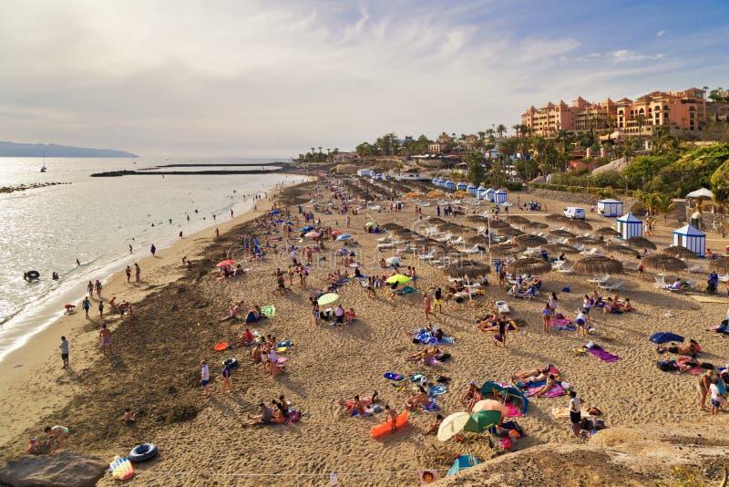Sandig strand med halmtäckte slags solskydd och sunbeds royaltyfri fotografi