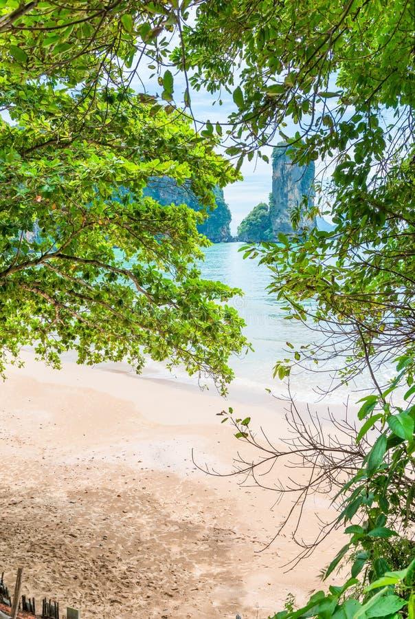 sandig strand och en härlig fjärd arkivfoton
