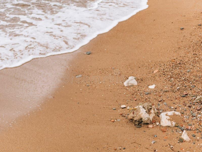Sandig strand och vågor, närbild Textur av sand och vatten pict royaltyfria bilder