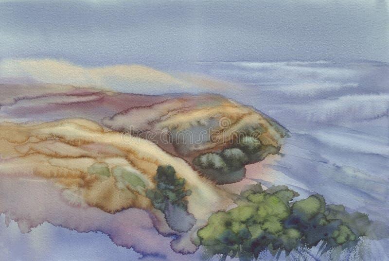 Sandiga dyn vid havsvattenfärgbakgrunden vektor illustrationer