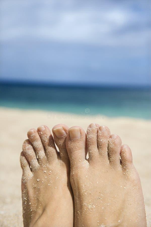 Sandige Füße der Frau auf Strand. stockfotografie