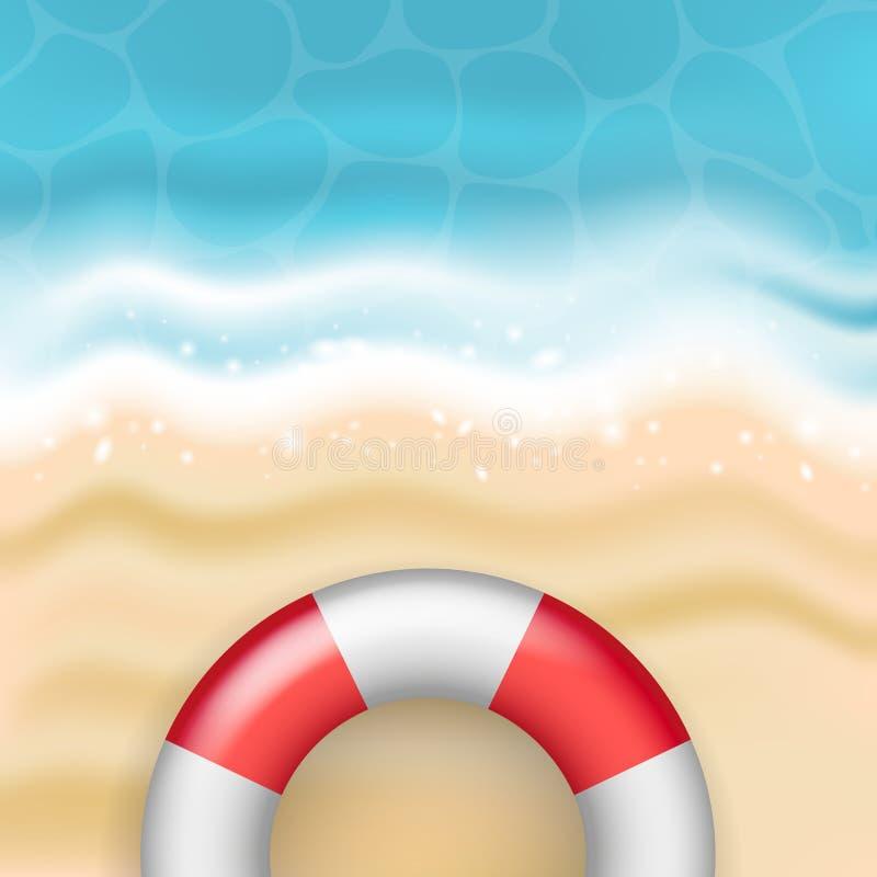 Sandiger Strand des hellen Vektorsommers mit Meereswellen und Rot und Whit lizenzfreie abbildung