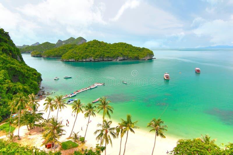 sandigt strandhav Koh Samui, Thailand royaltyfria foton