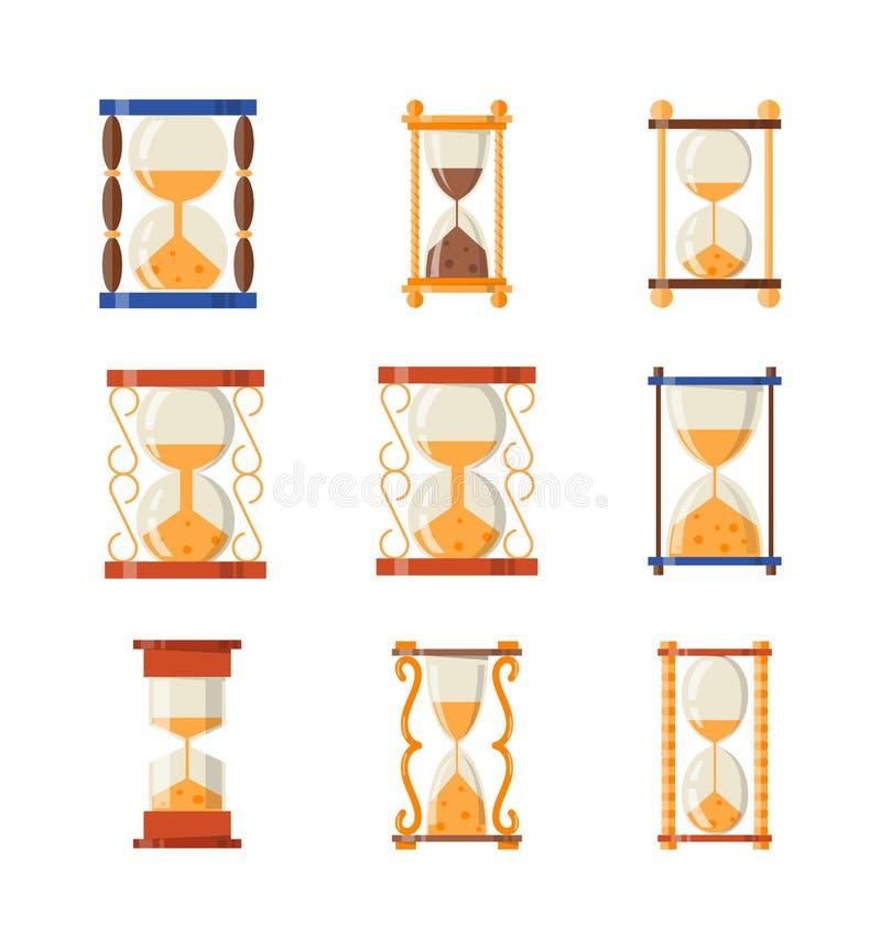 Sandklockauppsättning vektor illustrationer