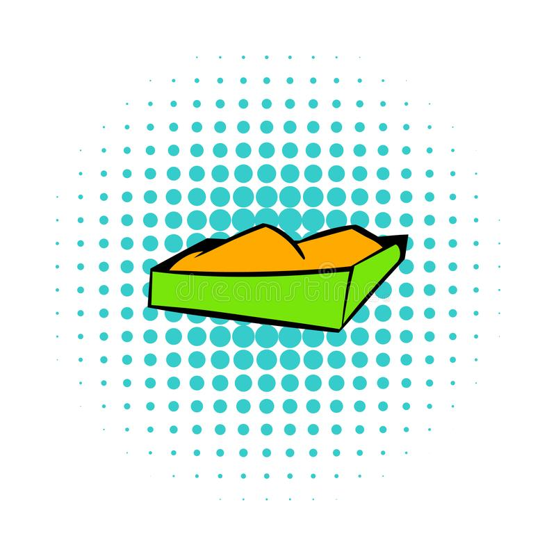 Sandlådan på en lekplatssymbol, komiker utformar vektor illustrationer
