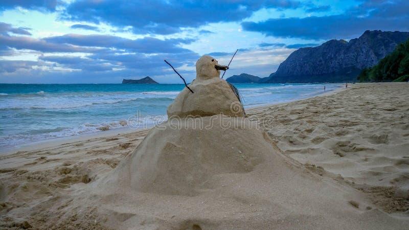 Sandman do Natal na praia fotos de stock