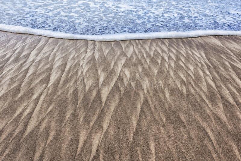 Sandmodeller och våg på stranden royaltyfri foto
