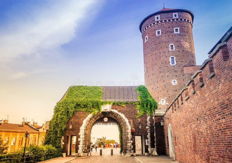 Sandomierska塔, Wawel皇家城堡,克拉科夫,波兰 图库摄影