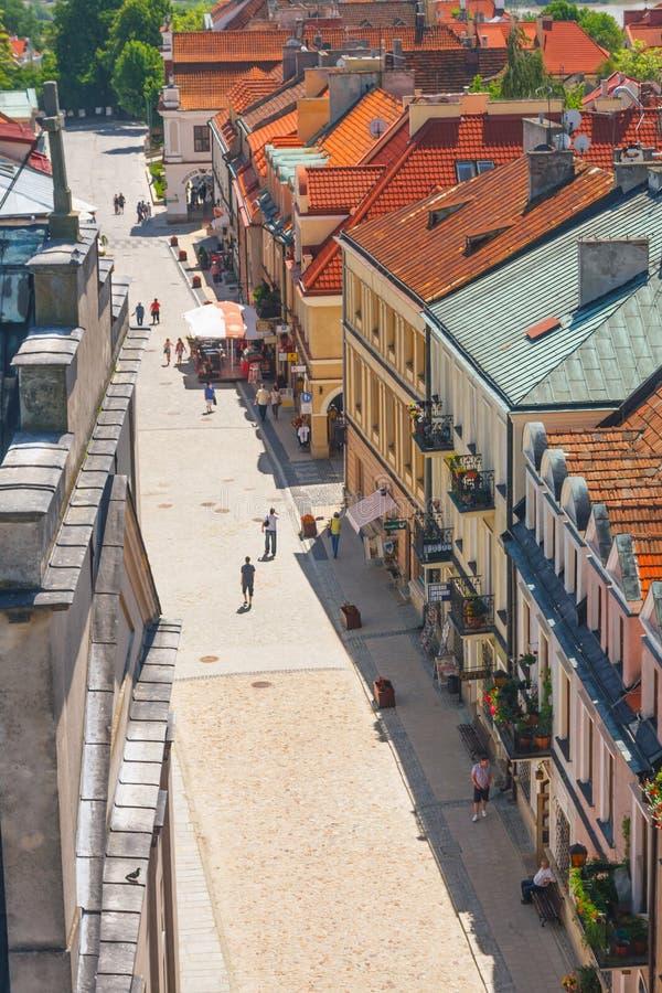 Sandomierz, Polen - 23. Mai: Panorama der historischen alten Stadt, die eine bedeutende Touristenattraktion ist 23. MAI 2014 Sand stockfotografie