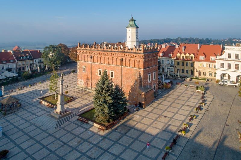 Sandomierz, Polonia Comune e quadrato del mercato fotografia stock libera da diritti