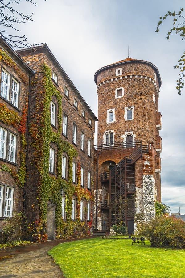 Sandomierz torn av slotten på den Wawel kullen royaltyfria bilder