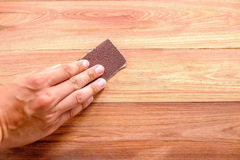 using sandpaper remove water stains from wood floor
