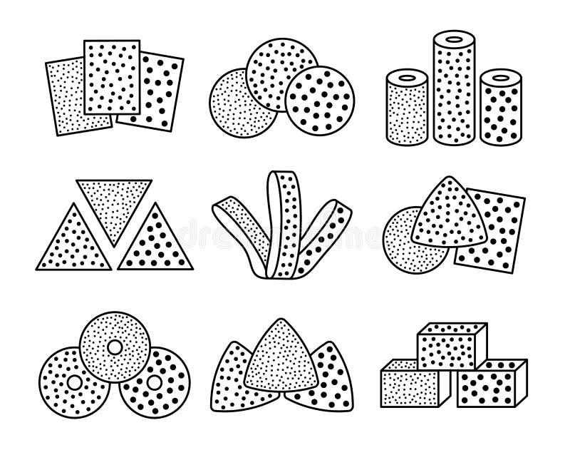 Sandpaper sheets, discs, rolls, triangles. Black & white vector illustration of sanding abrasive paper. Line icon set of vector illustration