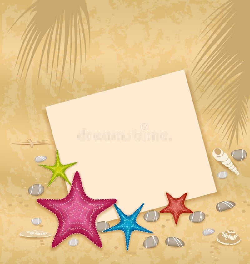 Sandpappra bakgrund med det pappers- kortet, sjöstjärnor, kiselstenstenar, hav vektor illustrationer