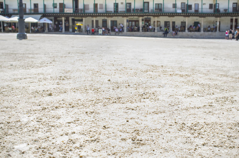 Sandpappra detaljen av den huvudsakliga fyrkanten på den Chinchon staden, Spanien arkivfoto
