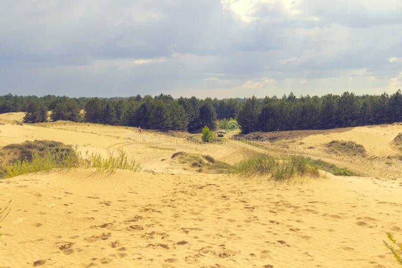 Sandpappra dyn och sörjer, himlen i molnen Bil i bakgrunden fotografering för bildbyråer